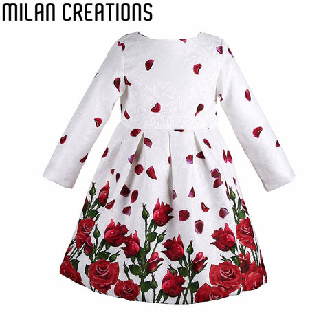 Baby Girls Dress Embroidery Rhinestone 2015 Winter Dress Girl Half Sleeve Brand Kids Dresses for Girls Clothes Children Dress