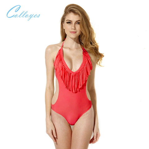 Colloyes Red One-piece Swimwear with Tassel Fringe and Side Cut-outs Bathing Suit