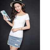 OTHERMIX 2016 summer personalized solid two wear Slim thin short-sleeved T-shirt women
