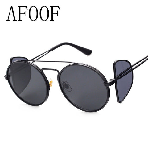 AFOOF 2016 Fashion Punk Sunglasses Brand Designer Women Men Round Frame Sun glasses Vintage Coating Mirror Lens Eyewear UV400