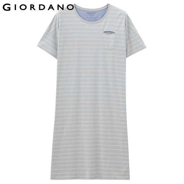 Giordano Women T-shirt Dress Striped Pink Cotton Short Sleeves O-neck Mujer Jersey Renda Vestidos Jurken Tee Dresses Stripes