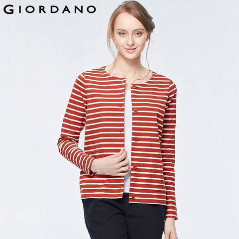Giordano Women Crewneck Sweatshirt Button Front Long Sleeves Sweatshirts Abrigos Mujer Striped Outerwear Veste Femme
