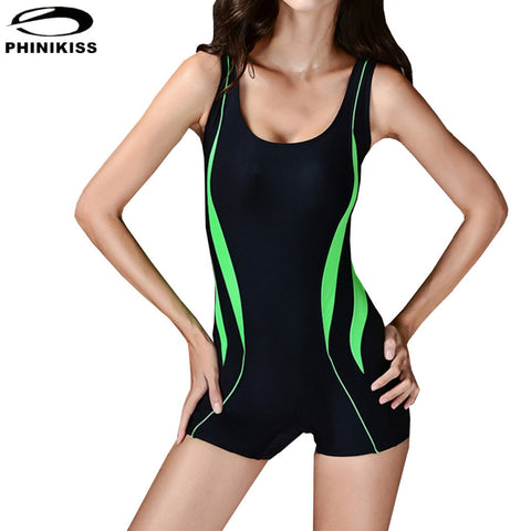 2016 New Professional Sports Swimwear Patchwork One Piece Swimsuit Slimming Monokini Bathing Suit Full Brief boxer Bodysuit