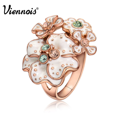 Viennois Brand Rose Gold Plated Green Crystal Rhinestone Enamel Flower Cocktail Ring Size 6# 7# 8#