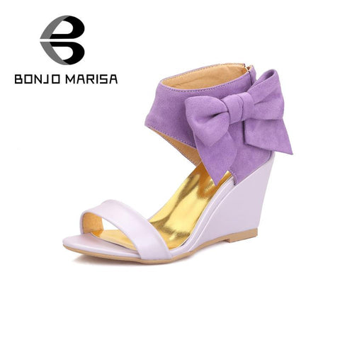 2016 big sale new design cover ankle big side bowtie women zipper up sandals sweet high heels wedges lady party dress shoes