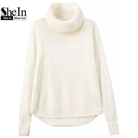 Autumn Latest Cute Brand Korean Designers New Arrival Hot Women Knitwear Casual White Turtleneck Long Sleeve Slim Sweater