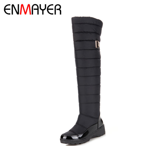 ENMAYER Arrive Keep Warm Snow Boots Fashion Thick Fur Platform Over the Knee Boots Winter Boots for Women Shoes Drop Shipping