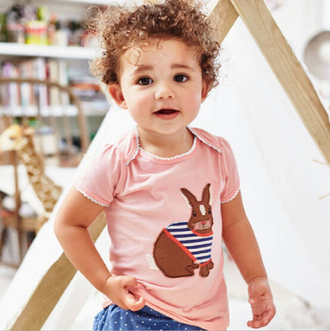 1-6T Children T Shirts Baby Girl Tops 2016 Brand Short Sleeves Girl T-shirt Kids Clothes Cotton Animal Pattern Kids T Shirt