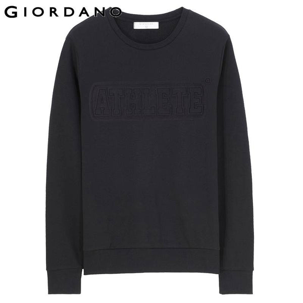 Giordano Men Embossing Sweatshirt Mens Cotton Pullover Embossed Jumper Crewneck Long Sleeve Chandal Hombre Brand Clothing