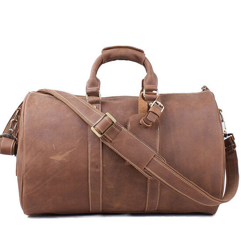 Guaranteed 100% Genuine leather men travel bag vintage Large capacity Crazy Horse Leather Unisex Brown Tote luggage Bags7077R
