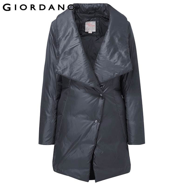 Giordano Women Lapel Down Jacket Winter Windproof Coat Womens Long Parka Puffer Jacket Woman Downs Women Winter Parkas
