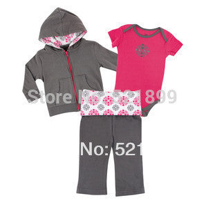 3 pcs / lot Luvable Friends 0-3,3-6,6-9,9-12,12-24months Long Sleeve Baby Clothing Baby Boy,2014 Spring&Autumn Baby Clothing Set