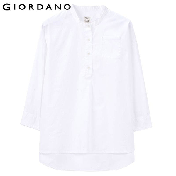 Giordano Women Solid Tunic Shirt Womens Cropped Sleeves Blouse Poplin Blouses for Women Blusas De Renda Feminino Shirts
