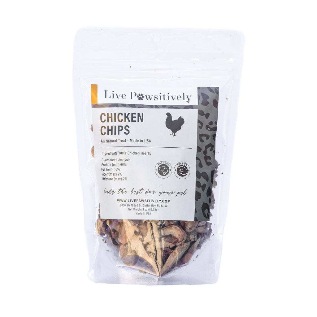 Chicken Chips Freeze Dried Sliced Chicken Hearts Single Ingredient Pet Treat