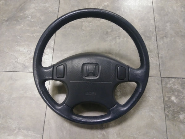 JDM HONDA CIVIC 96-00 EK EJ BLACK LEATHER STEERING WHEEL EK9 EK4 SRS - JDM Alliance LLC