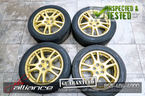 JDM Subaru Impreza WRX STi V7 5x100 17 Gold Wheels Rims - JDM Alliance