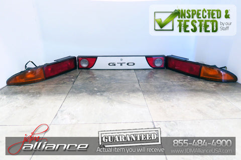 JDM 91-99 Mitsubishi 3000GT GTO VR4 OEM Rear Tail Lights Lamps & Center Garnish - JDM Alliance LLC
