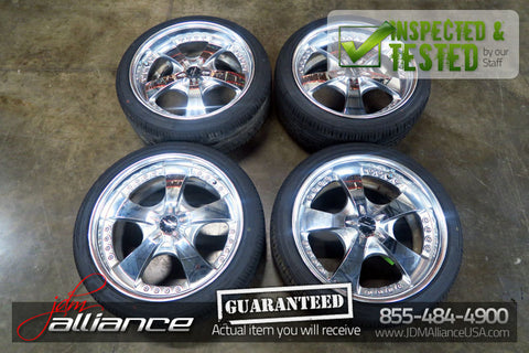 JDM Work Euroline 18x8.5 / 5x114.3 Offset +35 Wheels Rims Chrome