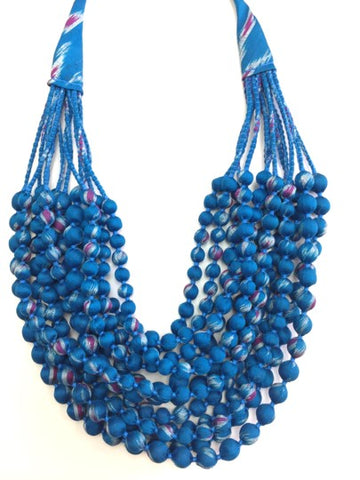 Twelve String Beaded Silk Necklace - Blue