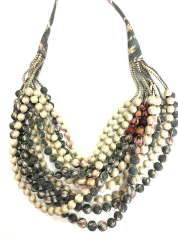 Twelve String Beaded Silk Necklace - Multi Colored
