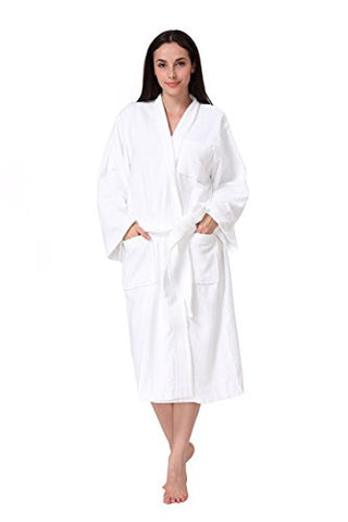 Acanva Women's & Men's Terry Robe Plush Cotton Spa Kimono Bathrobe, White