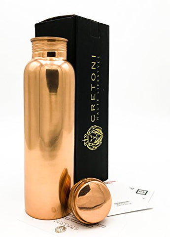 FDA-Certified Cretoni Pure Copper Plain Water Bottle  (900 ml / 30 oz.)