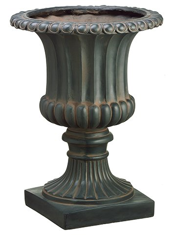 "25""Hx18.5""D Resin Urn Rust Metal"