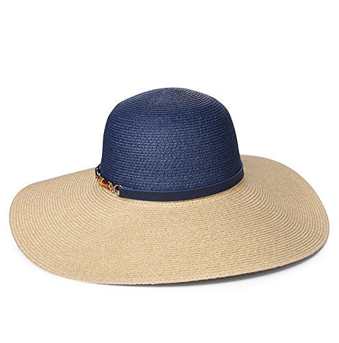 Navy Canopy Straw Hat