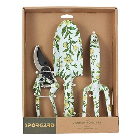 3 Piece Aluminum Garden Tool Set with Floral Print