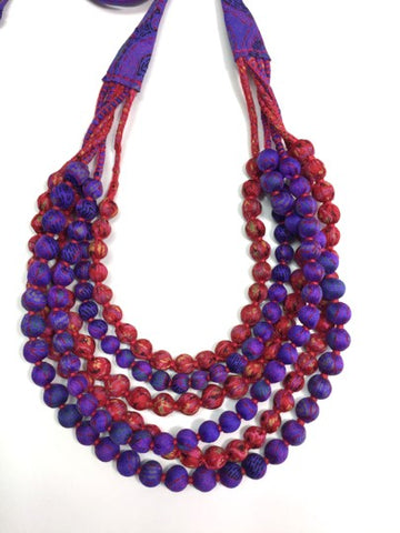 Six String Beaded Silk Necklace - Red and Purple