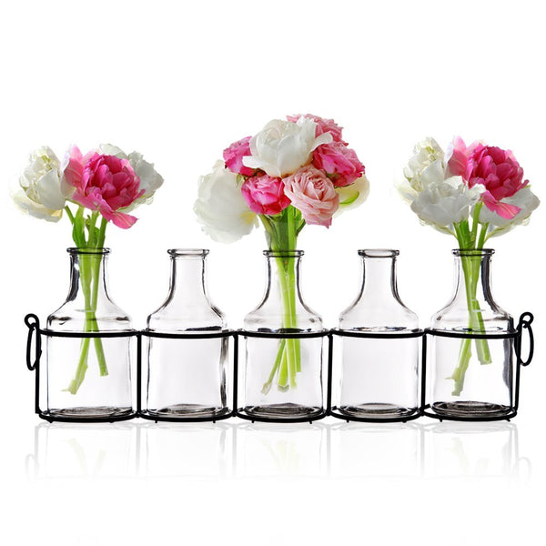 Bud Vases in Black Metal Rack