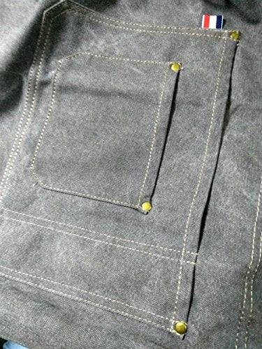 Grey Denim Canvas Card Washed Over Wax Dry Apron by Luchuan