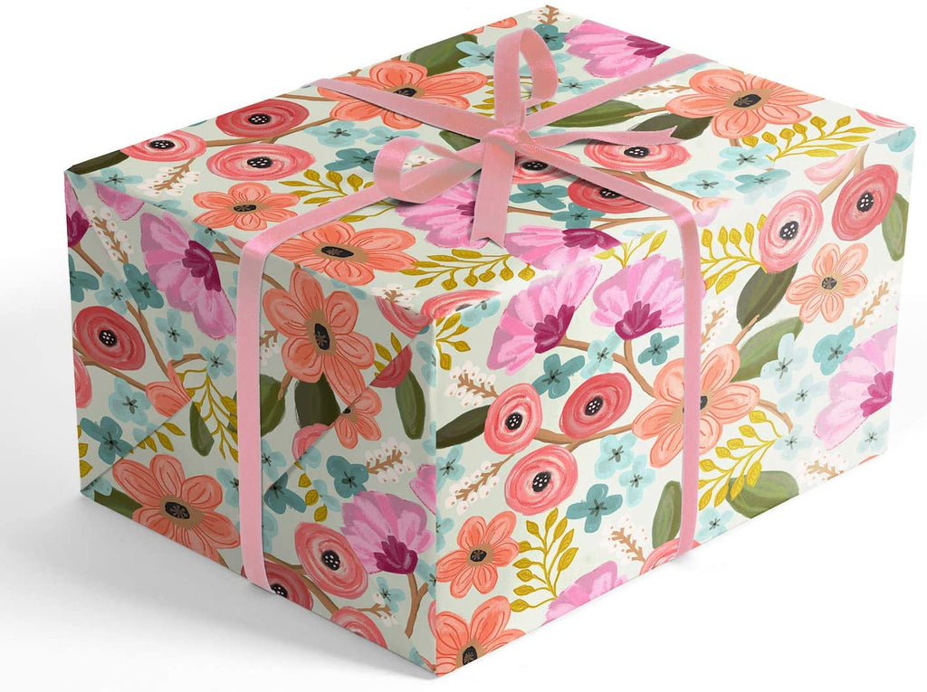 Romantic Pastel Floral Folded Wrapping Paper