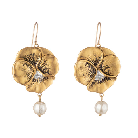 "Janet Mavec Pansy Drop Earring with ""Pearl"""