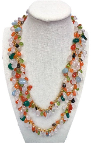 Multi-Gemstone Long Necklace - A
