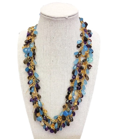 Multi-Gemstone Long Necklace - B