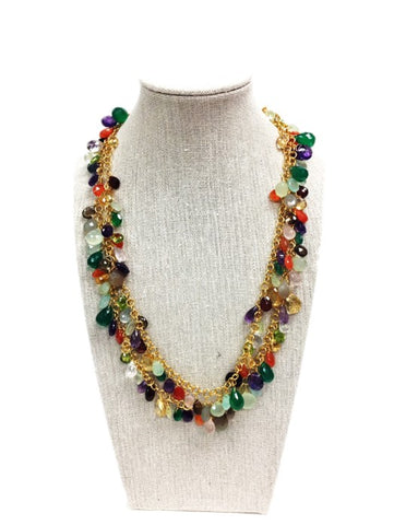 Multi-Gemstone Long Necklace - C