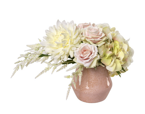 Cream dahlia and astilbe in pink pot - Faux Floral Couture