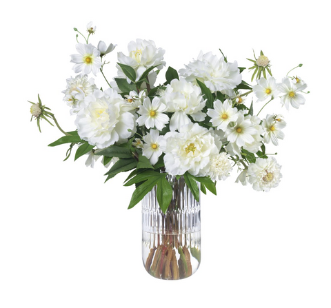 White cosmos and peonies in glass vase