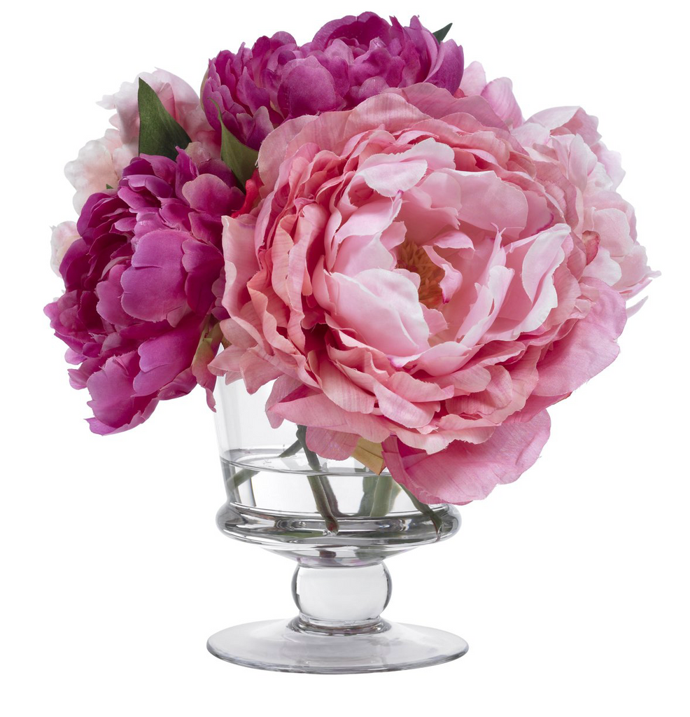 Pink peonies in footed vase - Faux Floral Couture