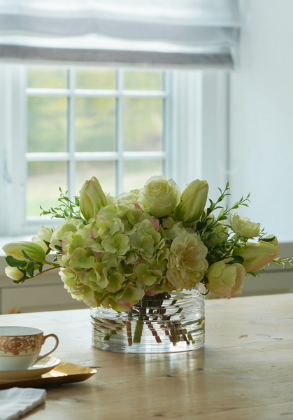 Green tulips and hydrangea in low glass bowl - Faux Floral Couture