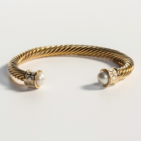 Maya Torque Ivory & Gold Bangle by Halcyon Days