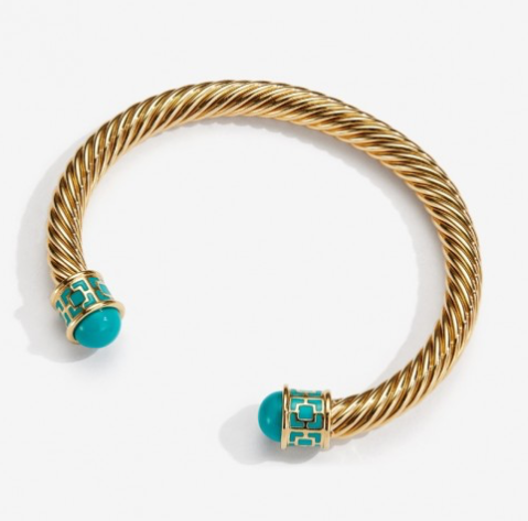 Maya Torque Turquoise & Gold Bangle by Halcyon Days