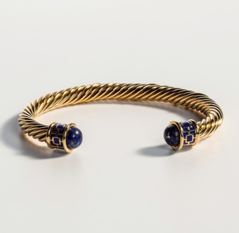 Maya Torque Deep Cobalt & Gold Bangle by Halcyon Days