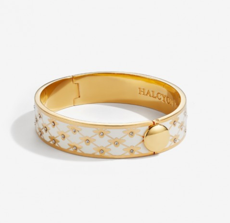Bee Sparkle Trellis Cream & Gold Bangle by Halcyon Days