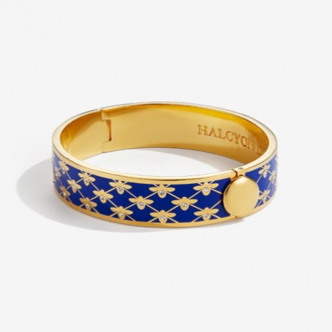 Bee Sparkle Trellis Deep Cobalt & Gold Bangle by Halcyon Days