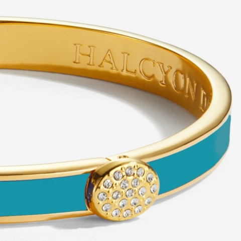 Skinny Pave Button Turquoise & Gold Bangle by Halcyon Days