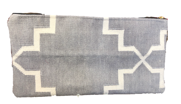 Dhurrie Gray Rug Clutch