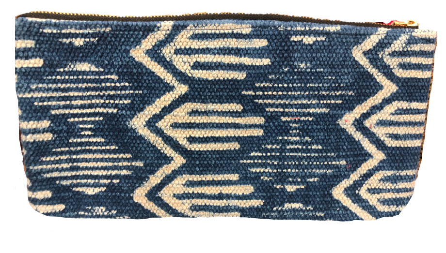 Dhurrie Rug Clutch - Nancy Blue & Cream