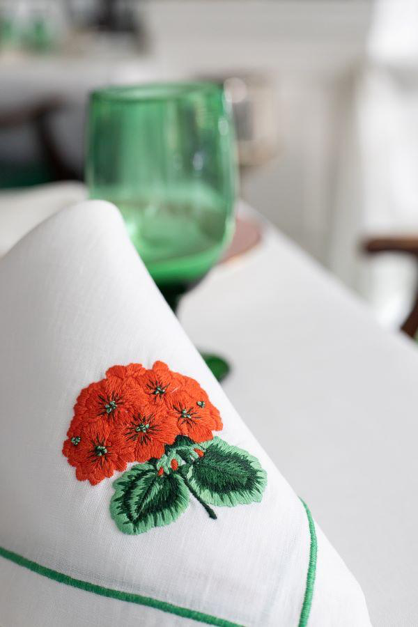 Linen Embroidered Large Geranium Dinner Napkin